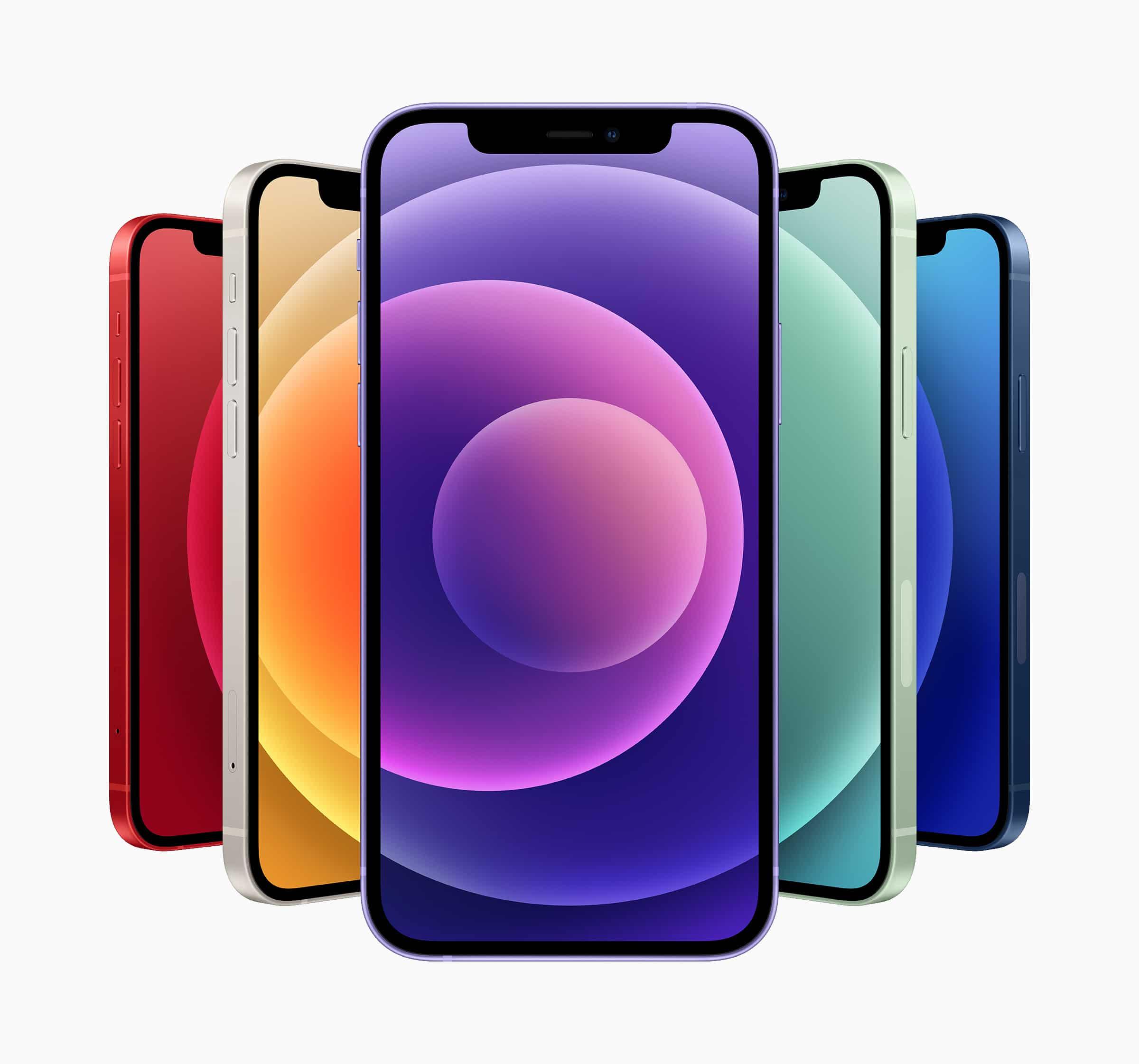 Todos los colores de los iPhones 12/12 mini, destacando el nuevo morado