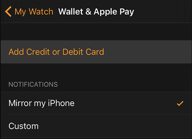Tarjeta de crédito Apple Watch NFC