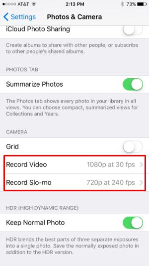 Cómo se cambia la resolución de grabación de vídeo en el iPhone 6s.