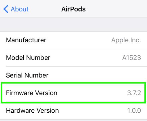 Estado del firmware de los AirPods