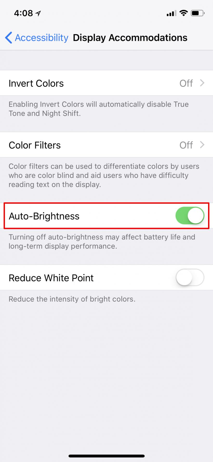 Cómo activar o desactivar el brillo automática a iOS 11 iPhone y iPad.