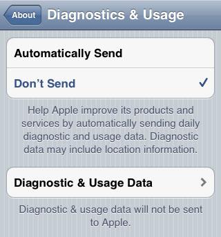 desactivar el diagnóstico de iOS Carrier IQ