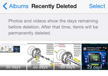 iOS 8 Álbum RECUPERADO suprimido recientemente