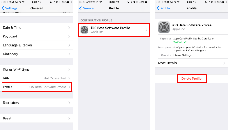Cómo eliminar el perfil de software beta de iOS del iPhone.