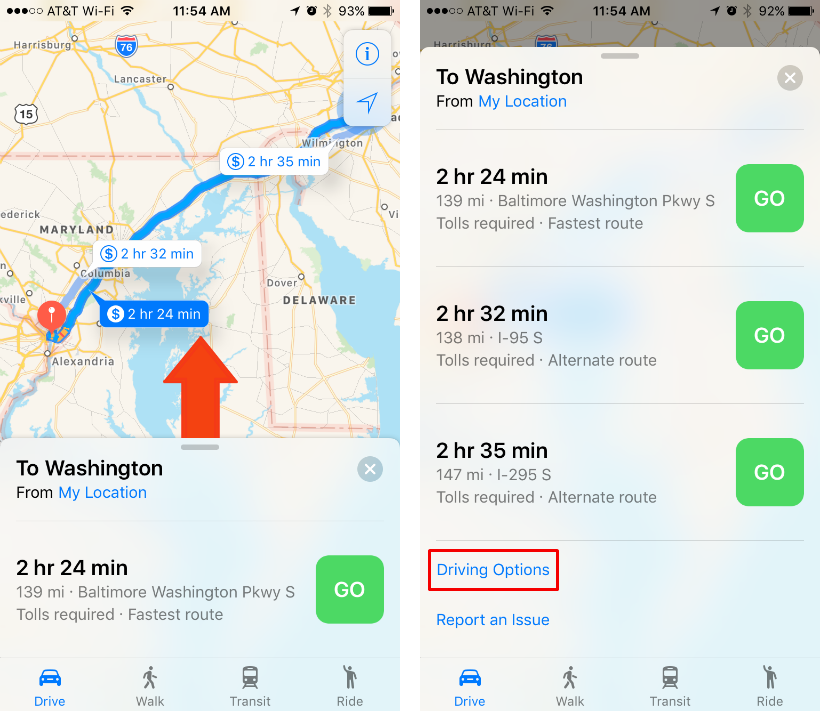 Como evitar carreteras y autopistas de peaje en iOS Maps.