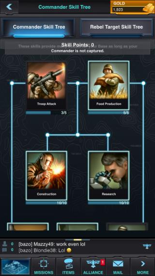 Utilice restablecimientos de habilidades de comandante para concentrar las habilidades del comandante en Mobile Strike.