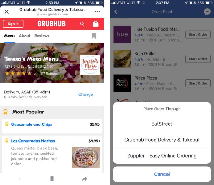 Como pedir comida a través de Facebook en iPhone y iPad.