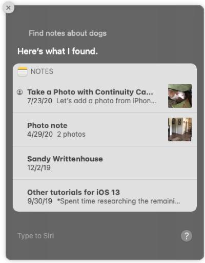 Utilice Siri para buscar notas