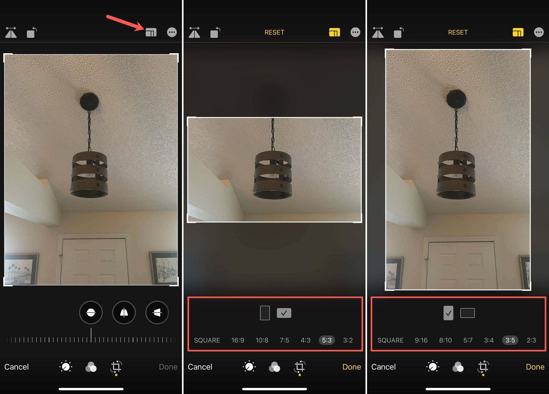 Recortar una foto en el iPhone con relaciones predeterminadas