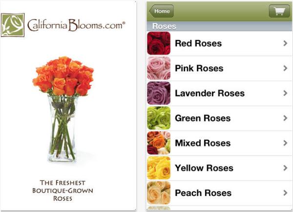 Aplicación de entrega de flores de California Blooms.