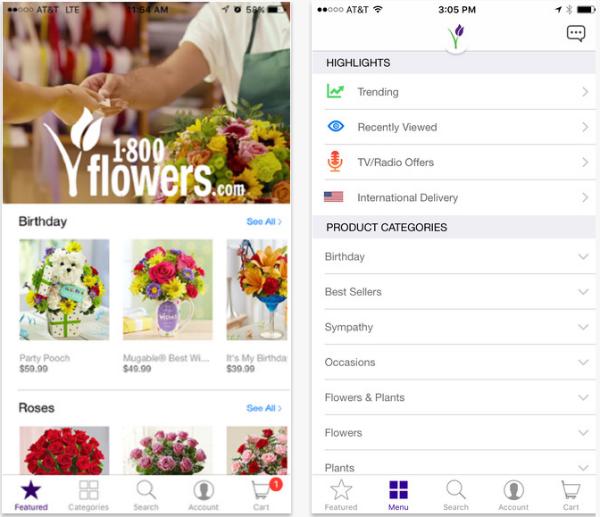 1-800-Aplicación de entrega de flores de flores.