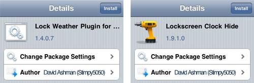 Complementos de plugins meteorológicos Cydia Lockinfo
