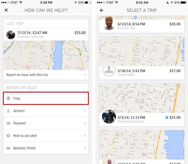 Consulte su historial de Uber.