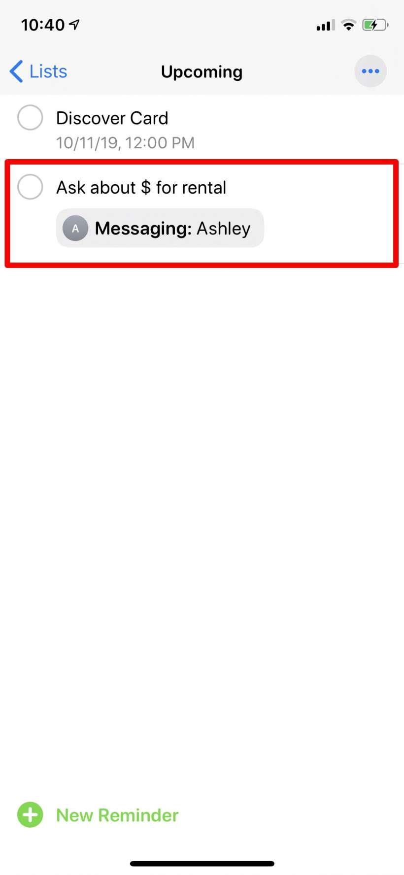 Como etiquetar un contacto en Recordatorios iPhone y iPad.