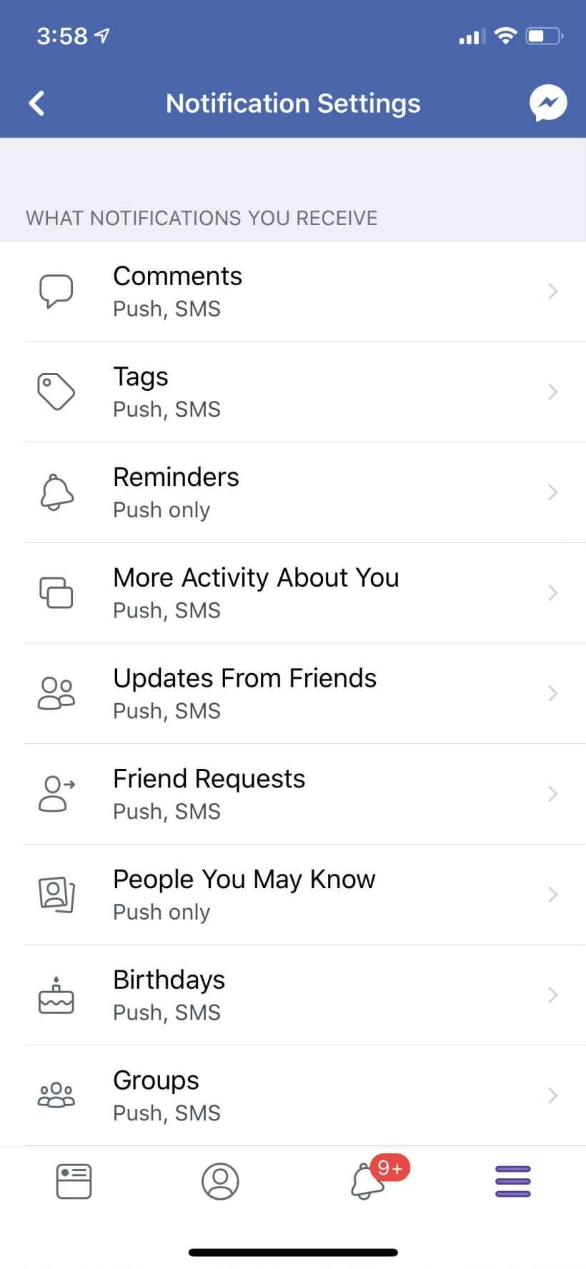 Cómo evitar que Facebook envíe mensajes de texto y notificaciones por correo electrónico en el iPhone y el iPad.