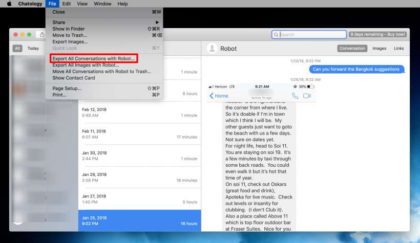 Guardar un hilo de mensaje entero en el iPhone y el iPad.