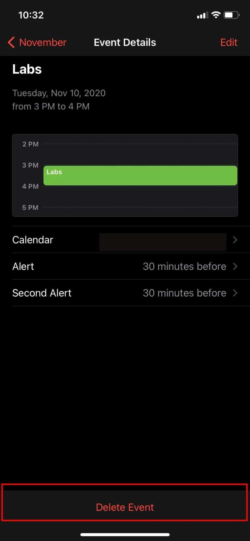 Eliminar el evento del calendario