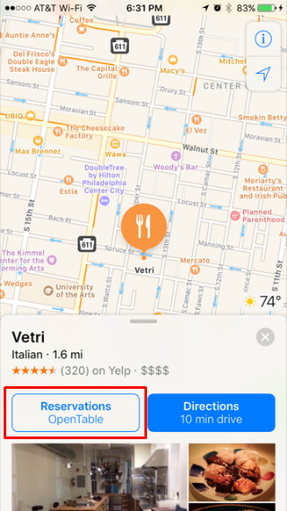 Cómo utilizar OpenTable a Apple Maps.