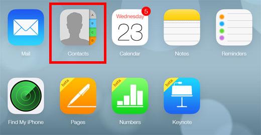 Aplicación de contactos web iCloud