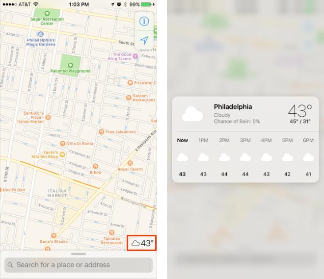 Consulte la predicción del tiempo en Maps en iOS 10.3.