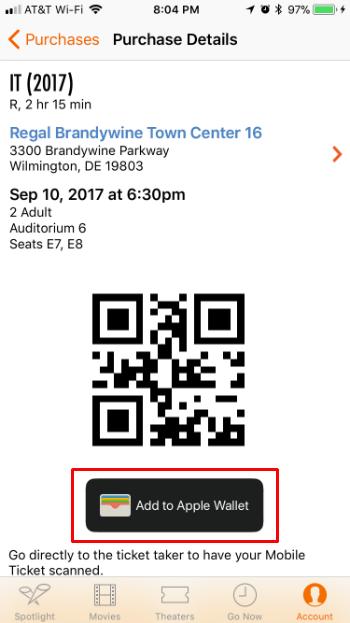 Cómo añadir entradas de películas a Apple Wallet al iPhone iOS.