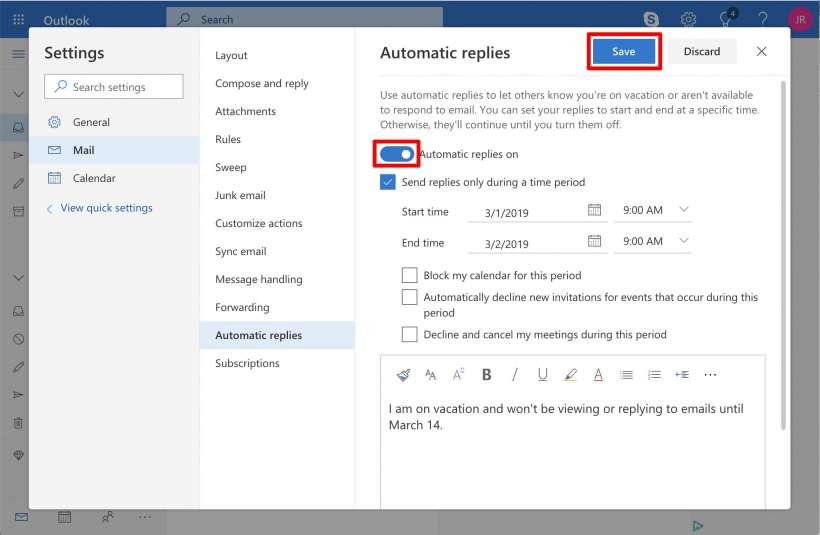 Cómo configurar una respuesta fuera de la oficina para Outlook en el iPhone, el iPad y el Mac.