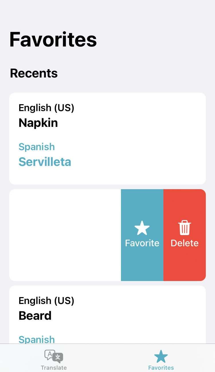 Traduce elimine iOS