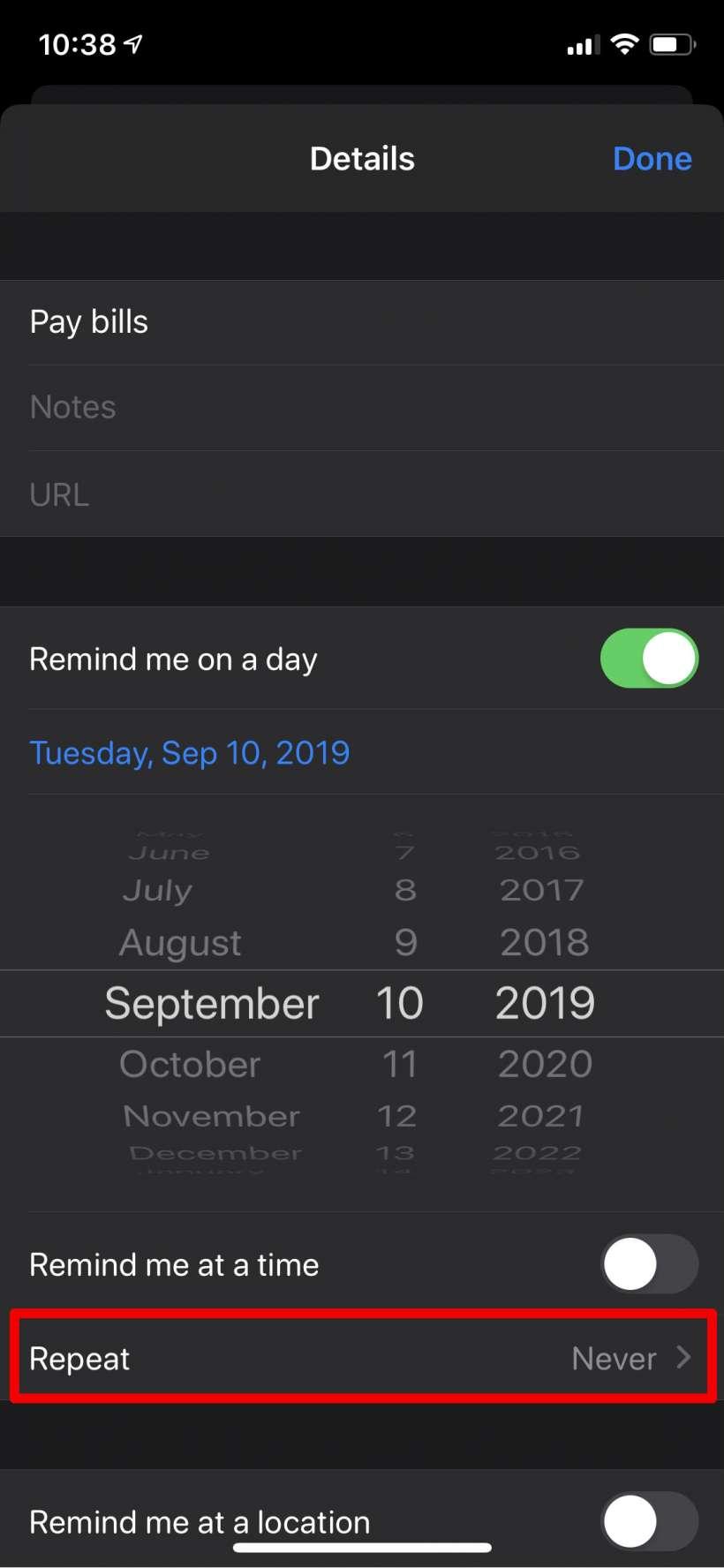 Cómo crear recordatorios diarios, semanales, mensuales, anuales (anuales) iPhone y iPad.