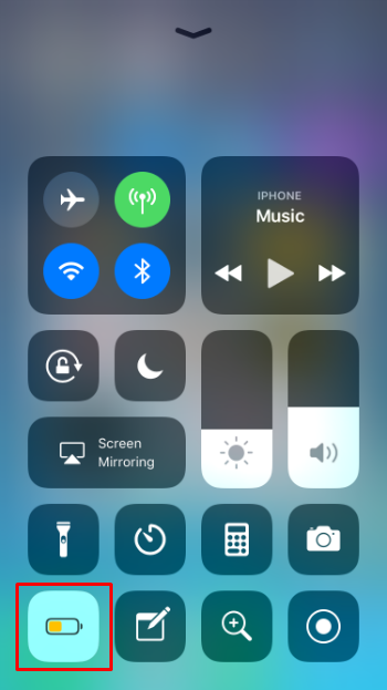 Cómo se activa el modo de bajo consumo en el Centro de control del iPhone y el iPad a iOS 11.