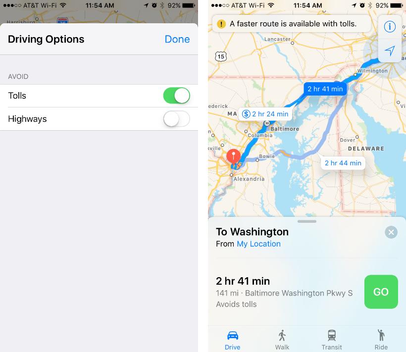 Como evitar carreteras y autopistas de peaje en la aplicación Apple Maps.