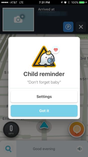 Como se utiliza el recordatorio infantil en Waze.