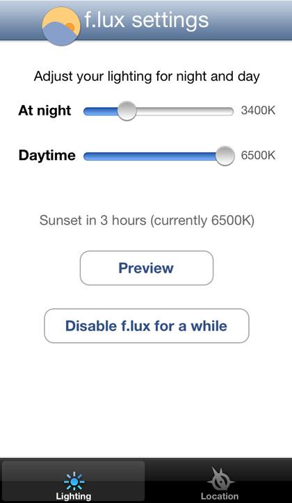 F.lux ajusta la configuración de la pantalla