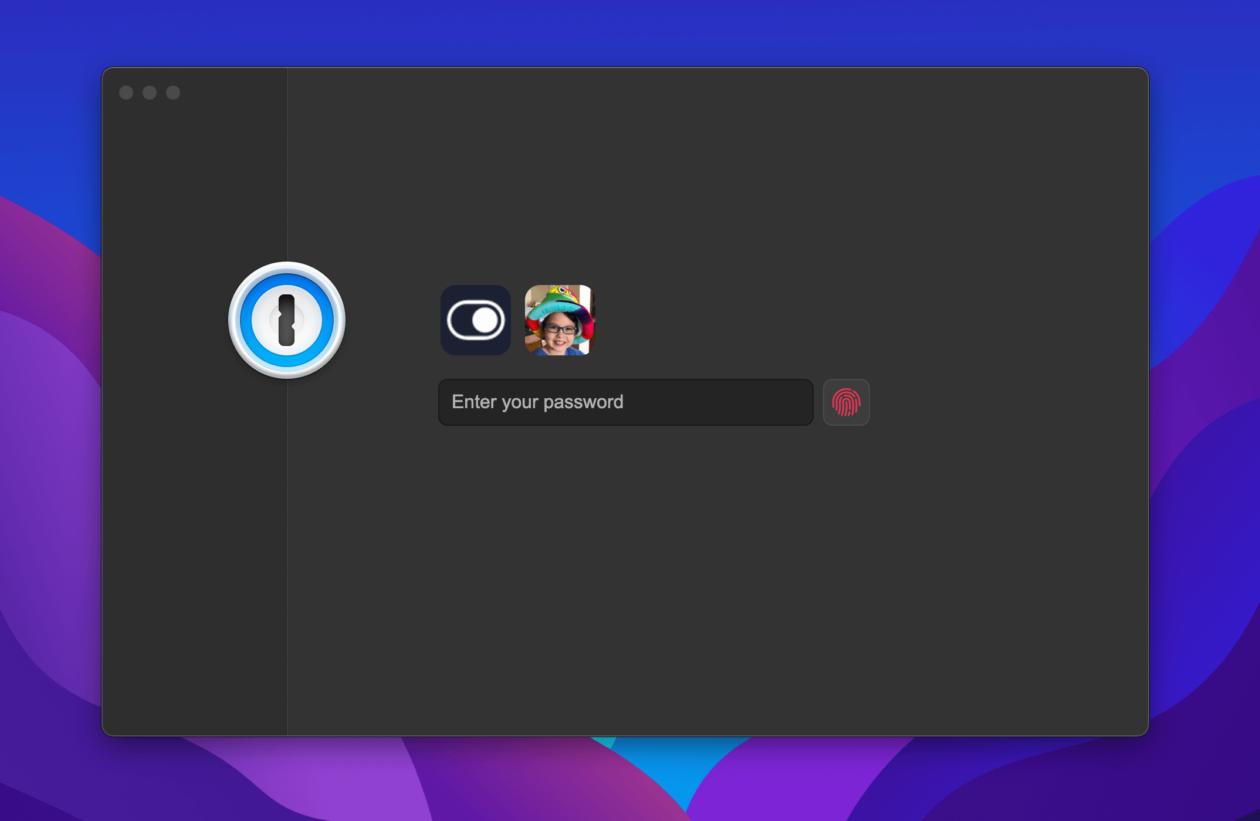 1Password 8: pantalla de bloqueo