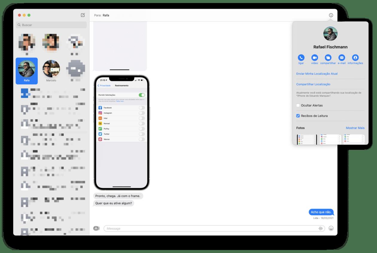 Compartir ubicación en mensajería (Mac)
