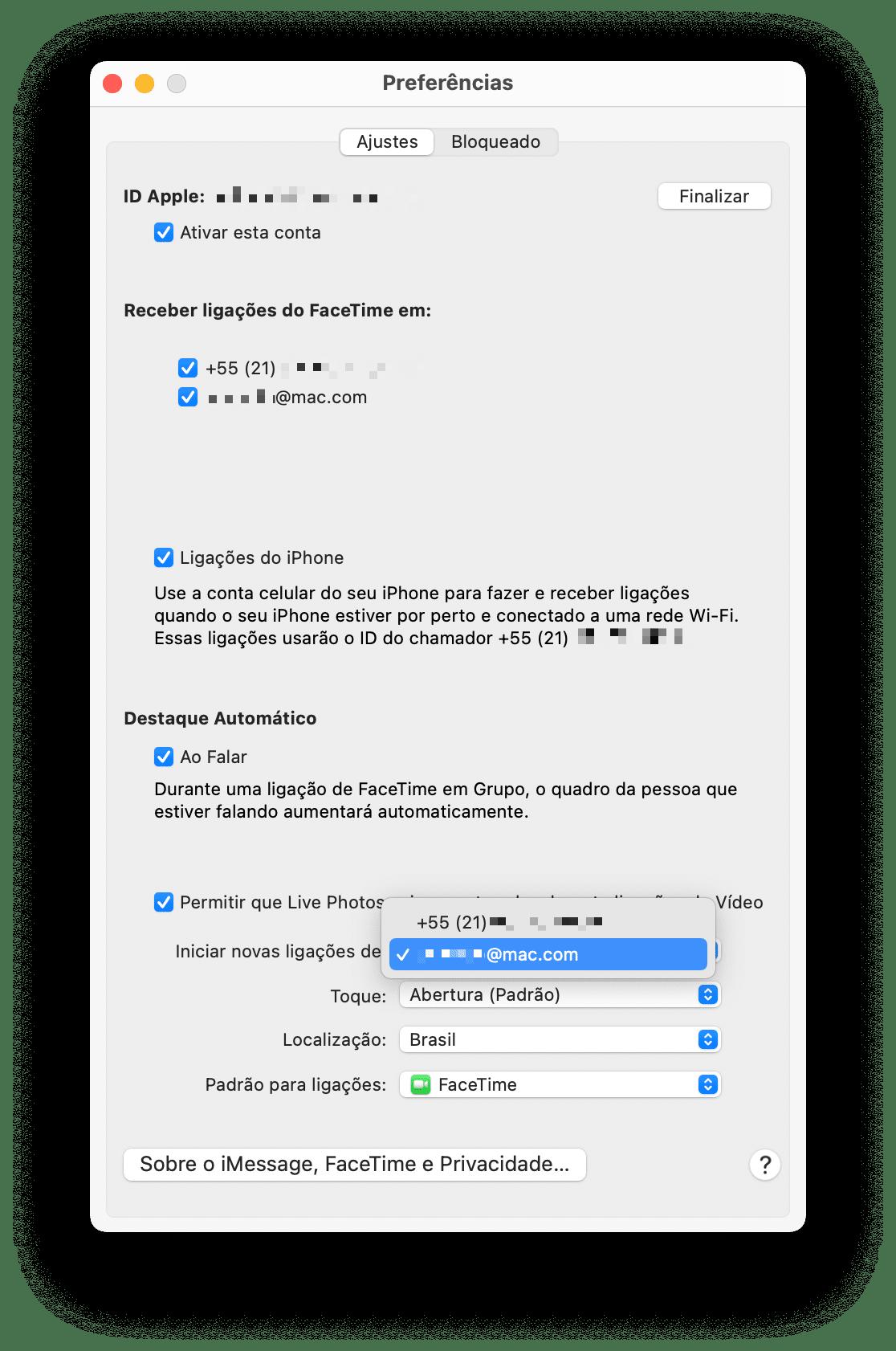Identificador de llamadas en FaceTime en Mac