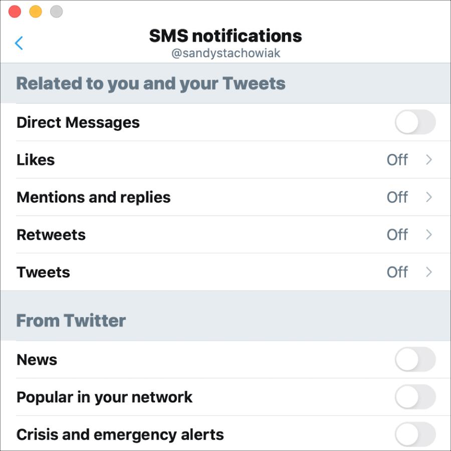 Notificaciones por SMS de Twitter Mac
