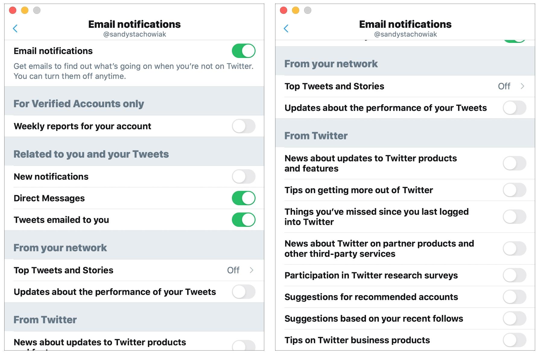 Notificaciones por correo electrónico de Twitter Mac