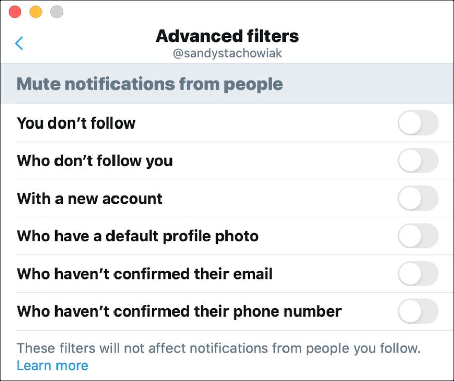 Filtros avanzados de Twitter para Mac