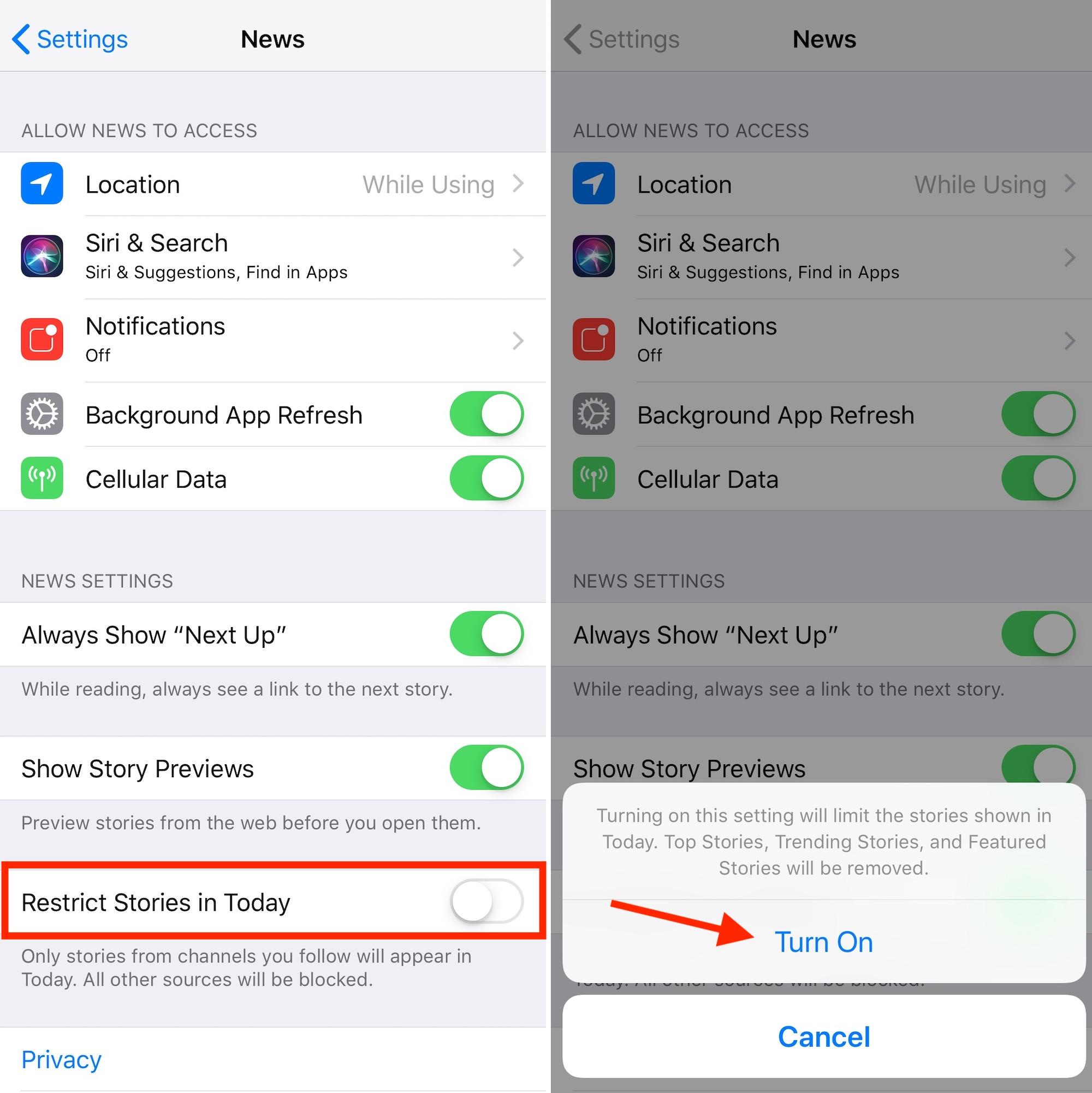 active las restricciones de noticias de Apple