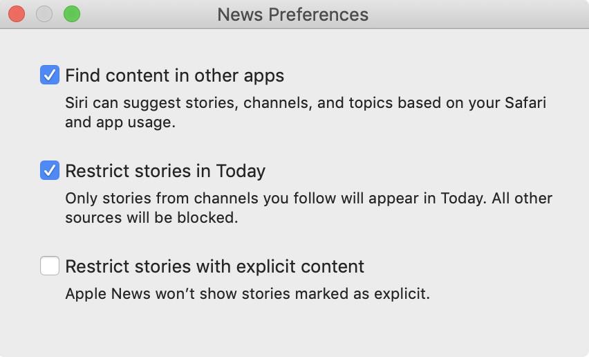 preferencias de la aplicación de noticias