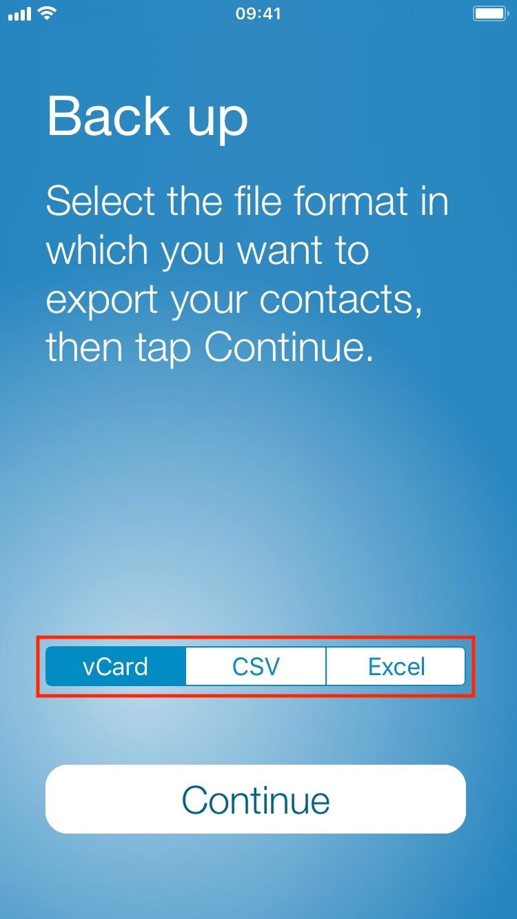 Elija qué formato desea hacer una copia de seguridad de sus contactos