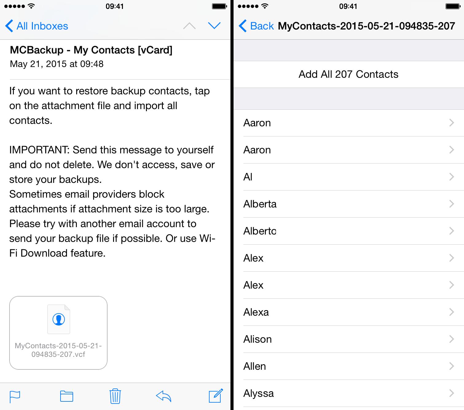 Restaurar los contactos de la copia de seguridad