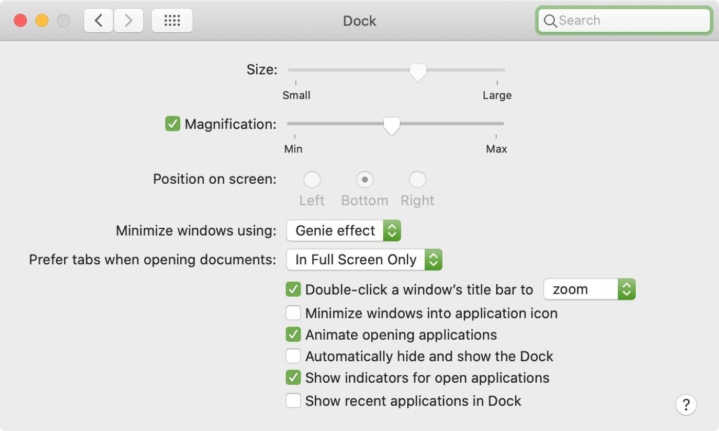 Preferencias del sistema de bloqueo de Dock Mac