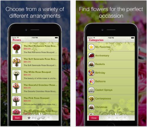 Aplicación de entrega de flores de floristería móvil.
