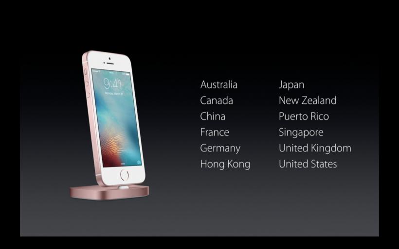 Mercados de lanzamiento inicial del iPhone SE