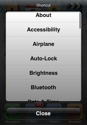 MultiShortcut ajustar Cydia iOS