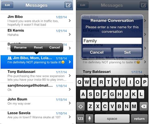cambie el nombre del mensaje de texto del grupo