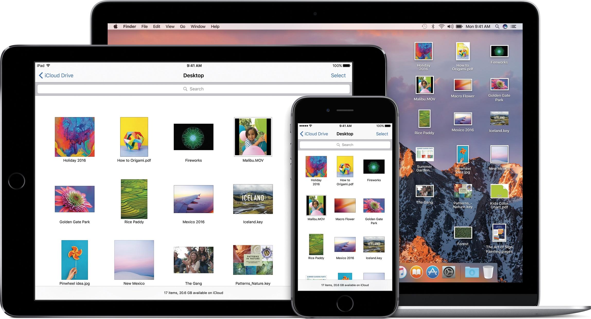 iCloud Drive de macOS Sierra en una MacBook junto con la aplicación que se ejecuta en iPad y iPhone