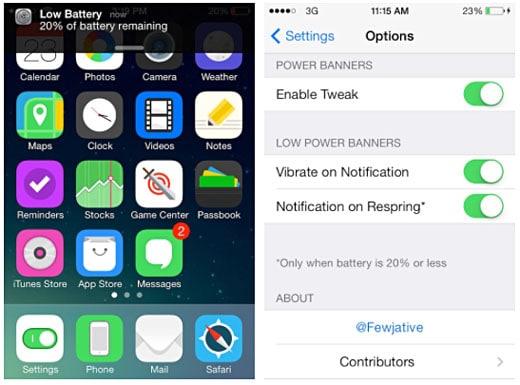 iOS retoca la notificación de alimentación