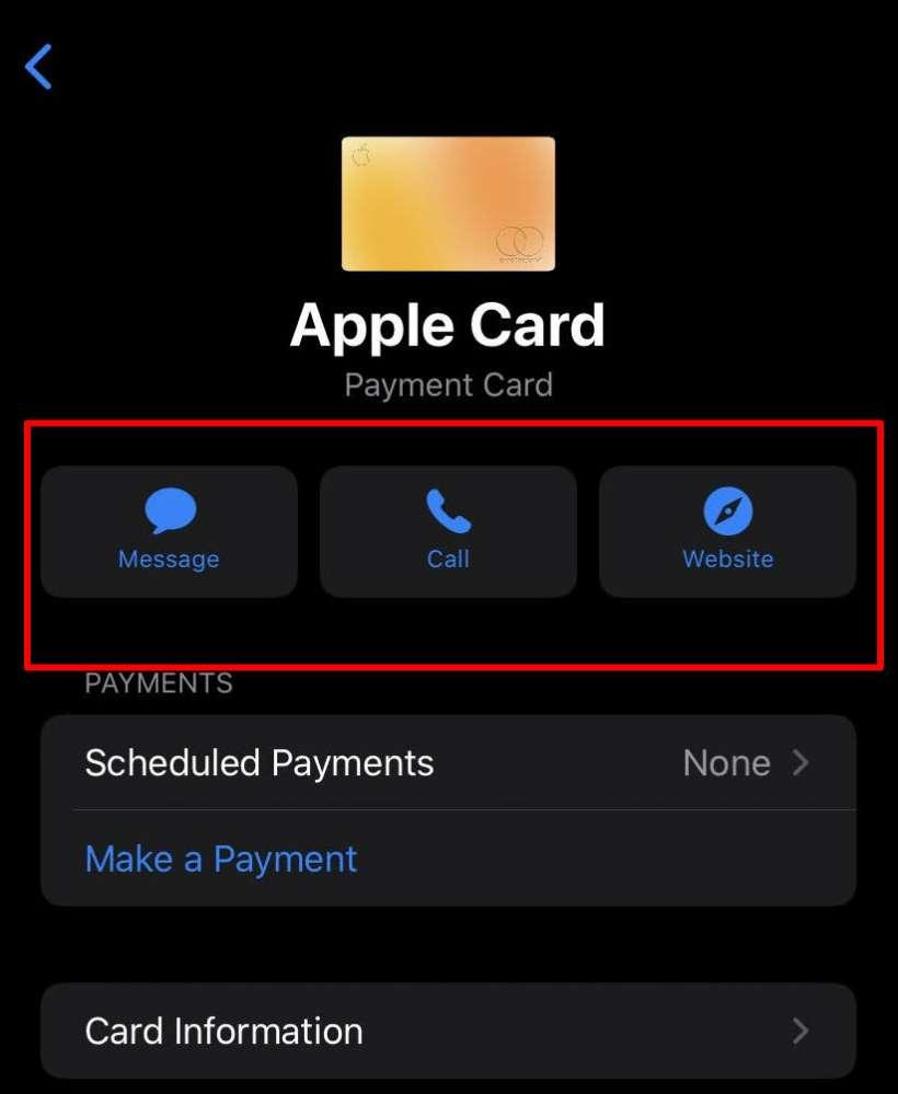 Contacto de la tarjeta Apple